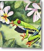 Frog And Plumerias Metal Print
