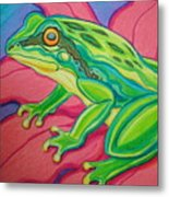 Frog On Flower Metal Print