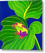 Frog On Leaf Metal Print