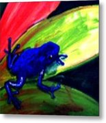 Frog On Leaf Metal Print