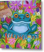 Frogs And Flowers Metal Print