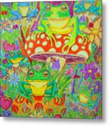Frogs And Mushrooms Metal Print