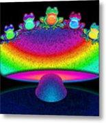 Frogs And Rainbow Mushroom Metal Print