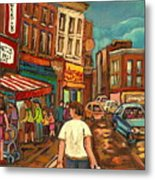 From Schwartz's To Warshaws To The  Main Steakhouse Montreal's Famous Landmarks By Carole Spandau  Metal Print