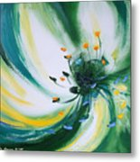 From The Heart Of A Flower Green Metal Print