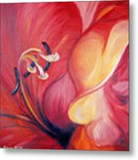 From The Heart Of A Flower Red Metal Print