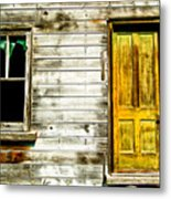 Front Door To An Old Abandoned House. Metal Print