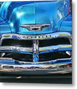 Front End Blue And Chrome Chevy Pick Up Metal Print