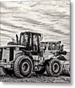 Front End Loader Black And White Metal Print