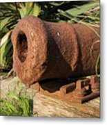 Front End Of An Old Rusty Cannon Lying On The Floor Metal Print