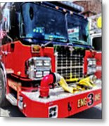 Front Of Fire Truck With Hose Metal Print