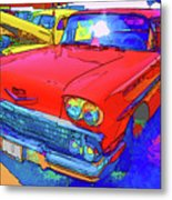 Front View Of Red Retro Car  Metal Print
