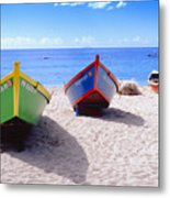 Frontal View Of Fishing Boats On Crash Boat Beach Puerto Rico Metal Print