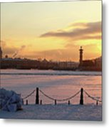 Frosty Evening In The City On The River Metal Print