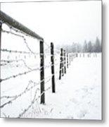 Frosty Fenceline Metal Print