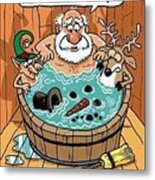 Frosty In A Hot Tub Metal Print