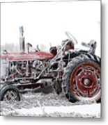 Frosty Tractor Metal Print