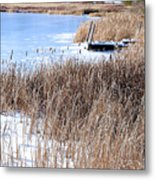 Frozen Dock Metal Print