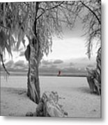 Frozen Landscape Of The Menominee North Pier Lighthouse Metal Print