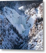 Frozen Lower Falls Metal Print