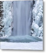 Frozen Multnomah Falls Closeup Metal Print