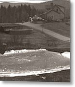 Frozen Pond Camp Ground Panorama Metal Print