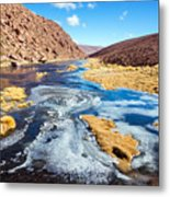 Frozen Stream In Chile Metal Print