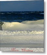 Frozen Waves Christmas Card Metal Print