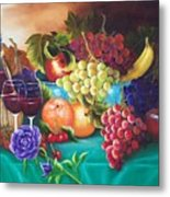 Fruit And Wine On Green Cloth Metal Print