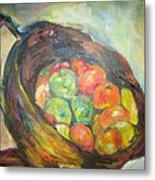 Fruit Basket And Wine Metal Print
