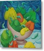 Fruit Bowl With Blue Background 2006 Metal Print