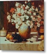 Fruit Flowers Vases With Carpet Background Metal Print
