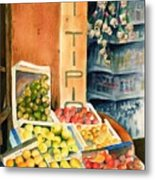 Fruit Shop In San Gimignano Metal Print