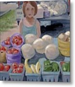 Fruit Stand Girl Metal Print