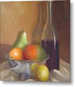 Fruit With Bottle Of Wine Metal Print