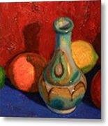 Fruit With Ceramic Vase Metal Print