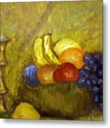 Fruitbowl And Candle Metal Print