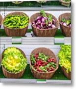 Fruits And Vegetables On A Supermarket Shelf Metal Print
