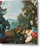 Fruits Flowers And Vegetables In A Landscape Metal Print