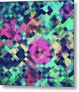 Fruity Rose   Fancy Colorful Abstraction Pattern Design  Green Pink Blue  Metal Print