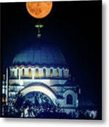 Full Moon Directly Over The Magnificent St. Sava Temple In Belgrade Metal Print