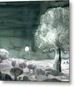 Full Moon Olive Tree  Metal Print