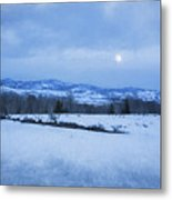 Full Moon Over A Field Of Snow Metal Print