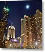Full Moon Over Chi Town Metal Print