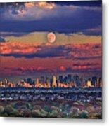 Full Moon Over New York City In October Metal Print