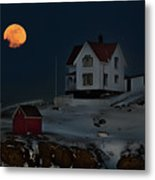 Full Moon Over Nubble Metal Print