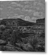 Full Moon Over Red Cliffs Bw Metal Print