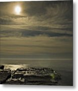 Full Moon Over Seawall Metal Print