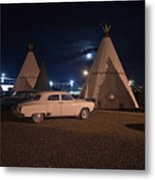 Full Moon Over Wigwam Motel Metal Print