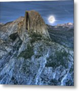 Full Moon Rising Behind Half Dome Metal Print
